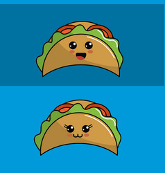 kawaii set tacos icon with beautiful expressions vector image