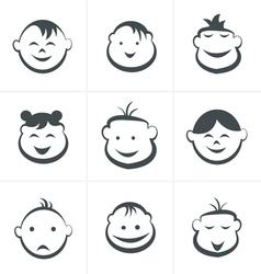Kids icons set boys and girls children symbols vector