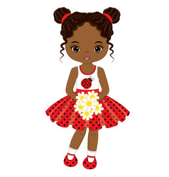 Little african american girl with flowers vector