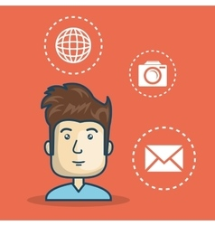 man avatar with laptop computer vector image vector image