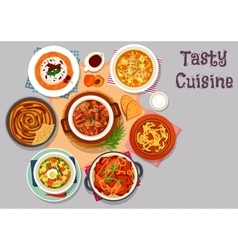 Meat dinner dishes icon for menu design vector