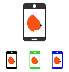 Mobile erotic tit flat icon vector