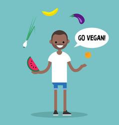 Modern lifestyle go vegan young black man vector