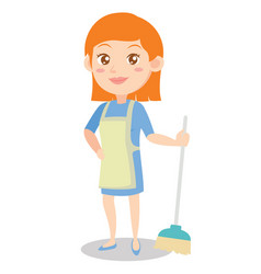mother with broom of character vector image vector image