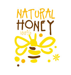 Natural honey logo colorful hand drawn vector