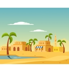 Oasis with the town in desert vector
