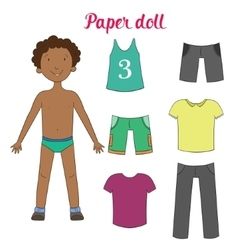 Paper doll boy and clothes vector image