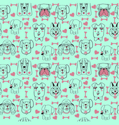 Pattern with pet cute dogs trendy background in vector