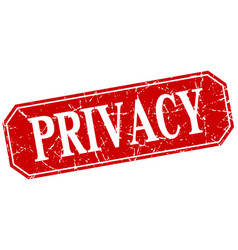Privacy red square vintage grunge isolated sign vector