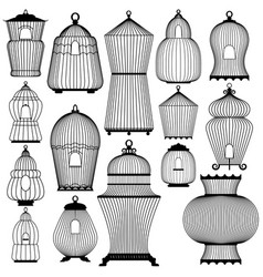 Set of decorative black bird cage silhouettes vector