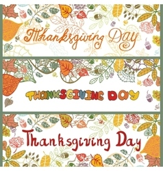 Thanksgiving day bannersColored Autumn leaves vector image vector image