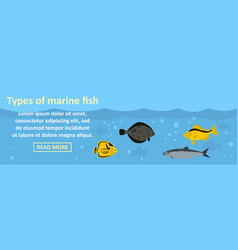 types of marine fish banner horizontal concept vector image vector image