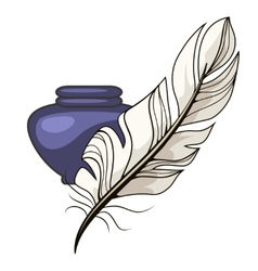 Vintage inkwell and feather vector