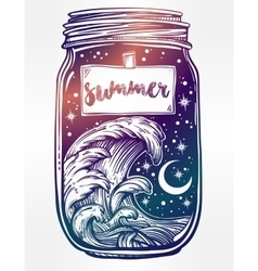 Wish jar with night sky moon and water waves vector image vector image