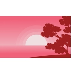 Landscape of sea and tree valentine backgrounds vector