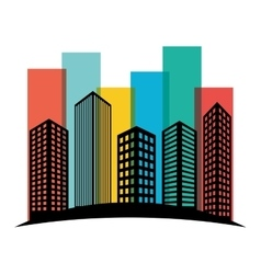 Colorful buildings and city scene line sticker vector image
