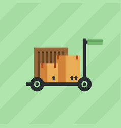 box package warehouse on a cart icon vector image