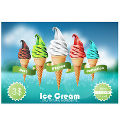 Colorful ice cream in the cone different flavors vector