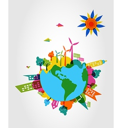 Colorful world eco friendly concept vector