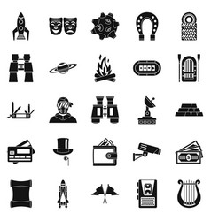 Luck icons set simple style vector