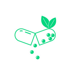 Green opened pill with leaf vector