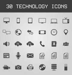 30 dark technology icons vector