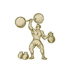 Strongman lifting barbell kettlebell etching vector