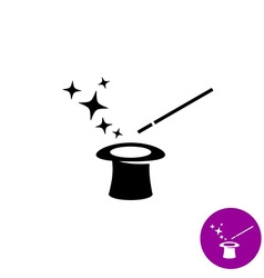Magic wand with magician hat and stars black vector
