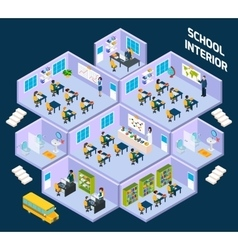 School isometric interior vector