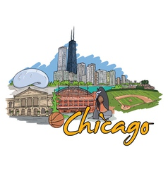 Chicago doodles vector