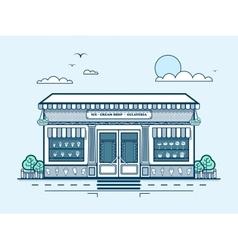 City street with ice-cream cafe modern vector