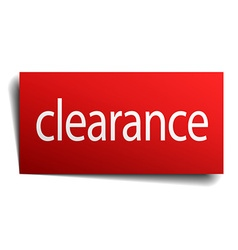Clearance red paper sign isolated on white vector