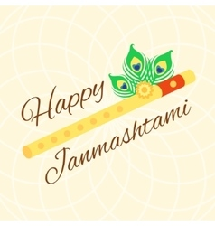 Happy janmashtami card with krishna flute on warm vector