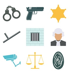 Crime and police icons set flat design vector