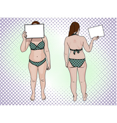 A fat woman in a swimsuit holds a sign pop art vector