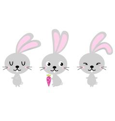Adorable cute spring easter bunnies vector