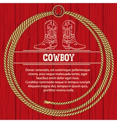American background with cowboy boots and rope vector image vector image