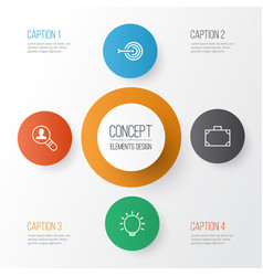 Business icons set collection of arrow open vector