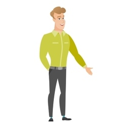 Caucasian businessman with hand in his pocket vector