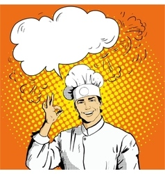 Chef with speech bubble shows OK sign vector image vector image