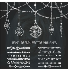 Christmas garland brushesballsChalkboard vector image vector image