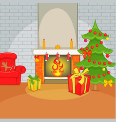 christmas room concept cartoon style vector image