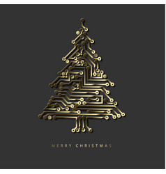 Christmas tree from golden digital electronic vector