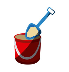 Color silhouette with bucket sand and shovel with vector