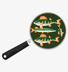 Fish on griddle vector