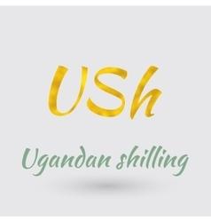 Golden symbol of ugandan shilling vector