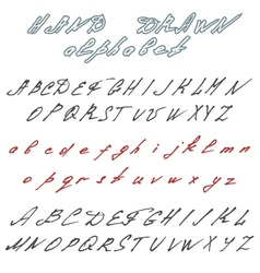 Hand drawn font Handwriting doodle alphabet vector image