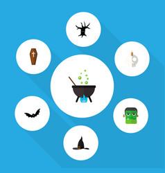 icon flat celebrate set of skull tree monster vector image vector image