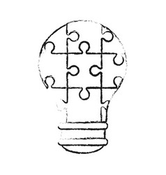 Lightbulb made of puzzle pieces teamwork concept vector