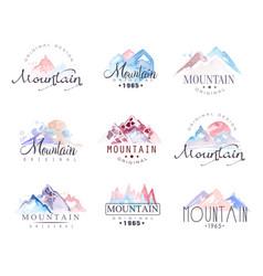 Mountain original logo design watercolor vector